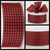 "🎀 Christmas Red/Black Gingham Check Wired Ribbon 2 1/2"" Wide X 5 YARDS~"