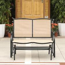 iKayaa Glider Bench Garden Outdoor Rocker Swing Chair Porch Patio Loveseat Chair