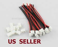 US SHIP 10 PCS 2S1P Balance Charger Cable 22 AWG Silicon Wire JST XH Plug