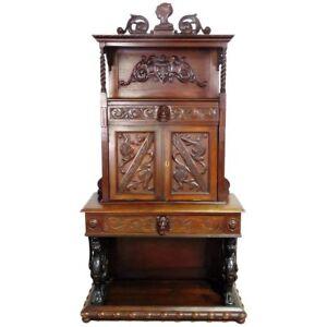 1880s Italian Carved Walnut Renaissance Style Winged Griffin Secretary Desk