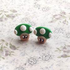 earrings Mario Mushroom Green Studs Funky Kitsch Cute Handmade Emo Game 90s