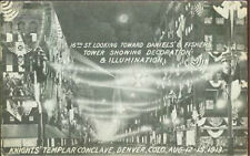 Postcard Knight's Templar Conclave Night Lights Street Scene Denver 16th St 1913