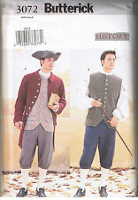 Mens Colonial Revolutionary Coat Vest Shirt Pant Costume Sewing Pattern 44 46 48