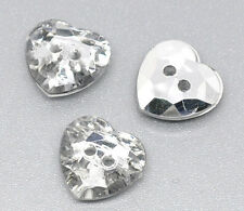 25 Silver Plated Crystal Heart Acrylic Sewing Buttons Scrap Book 12x12mm Bling