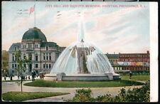 PROVIDENCE RI City Hall & Bajnotti Memorial Fountain Antique Postcard Old Vtg PC