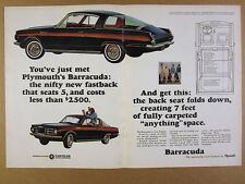 1964 Plymouth Barracuda fastback car photo vintage print Ad