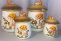 Vintage Ceramic Merry Mushroom Set of 4 Canisters Sears and Co. 1978 Japan Euc