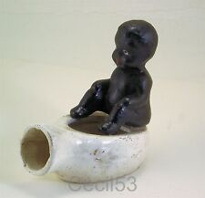 BLACK BABY ON BED PAN POTTY ASHTRAY NOVELTY CAST IRON - SHIPS FREE