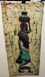 AFRICAN WOMAN ORIGINAL BATIK PAINTING UNSIGNED