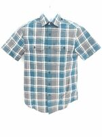 Great Northwest 100% Cotton Plaid Short Sleeve Button Up Shirt Rip Stop Men's Sm