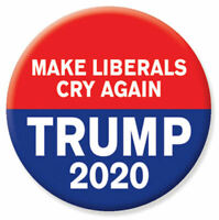 Trump 2020 Make Liberals Cry Again For President Red & Blue Button Pin Pinback