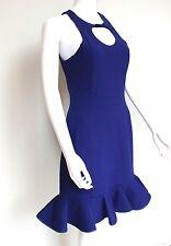 David Koma Blue Circle Cut Out Wool Dress UK12