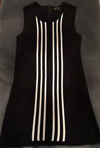 BEN SHERMAN Black Sleeveless A-Line Mini Mod Dress Size M