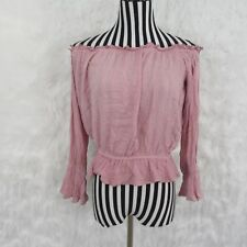 The Line Of Style Pink Off The Shoulder Top Size L