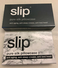 Pair of SLIP Silk Pillowcases NIB Charcoal King & White Marble Queen