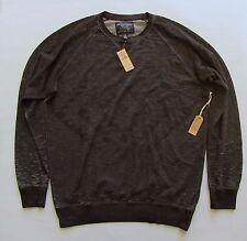 American Eagle Men's Crew Sweatshirt XXL Dark Heather Gray Burnout Print AEO NEW
