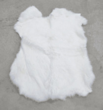 Rabbit Fur Pelt White Genuine Leather