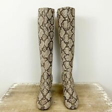 Donald Pliner Parley Python Print Leather Tall Stretch Panel Boots 8 NEW $298