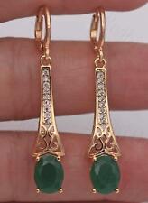 "18K Yellow Gold Filled 1.7"" Court Earrings Emerald Topaz Hollow Ear Dangle Chain"