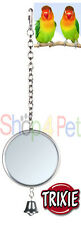 BIRD CAGE MIRROR TRIXIE WITH METAL FRAME & BELL BUDGIE CANARY SMALL BIRDS PET
