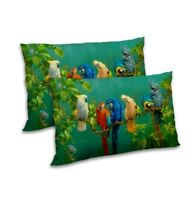 Parrot Printed Pillow Cover Set Satin Home Decor Throw Sofa Cushion Case Cover