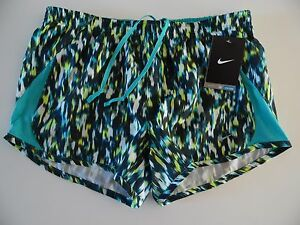 575097-388 New with tag Nike Womens PRINTED 5K running shorts Teal Multi-Color