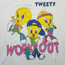 Vtg 1997 Looney Tunes T-Shirt sz 2XL Tweety Bird Work Out Single Stitch 90s D42