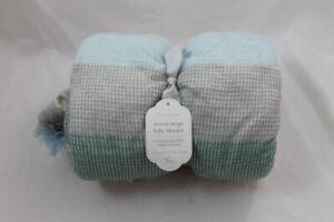 """Pottery Barn Kids Woven Stripe Baby Blanket Blue Multi NEW 30"""" x 40"""" Tassels"""