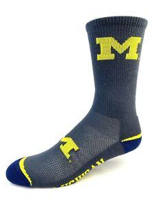 Michigan Wolverines Charcoal Gray Flex Top Crew Socks