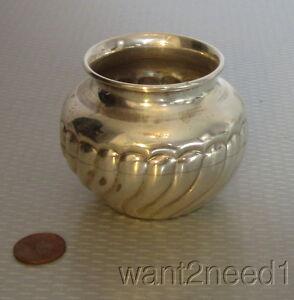 "handcrafted vtg signed ROMANA 900 SILVER URN VASE 2.5"" ribbed swirl pattern 84g"