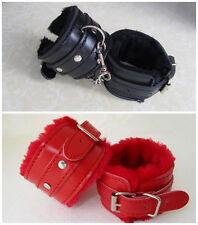 Leather &Fur Wrist handcuffs ankle-cuffs Bondage Fetish Sex SM Toys     KJ55
