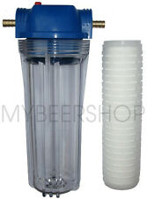 GRAVITY FEED BEER FILTER WITH 12mm BARBS & 10 MICRON CARTRIDGE HOME BREW WATER