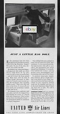 UNITED AIR LINES 1941 JUST A LITTLE RAG DOLL LEFT BEHIND DC-3 AD