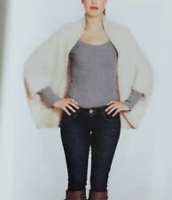 Off white Knit & fur wrap with Arm holes Outerwear Shawl Stole Shrug Scarf Soft