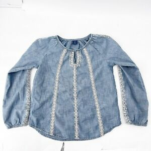 Girl's Gap Kids Sz M Denim Chambray Embroidered Long Sleeve Blouse Top Blue