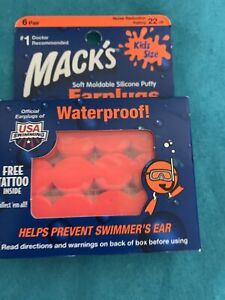 Soft Moldable Silicone Putty Ear Plugs, Kids Size, 6 Pair, Small Mack's 12 total