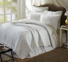 ADELIA WHITE Full Queen QUILT : MATELASSE DIAMOND FRENCH COUNTRY COVERLET