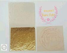 PURE 24K GOLD LEAF SHEET BOOK OF 5, FOOD GRADE EDIBLE,DECORATING,ART 3.5x3.5cm