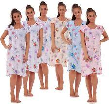 Ladies Women 100% Cotton Cap Sleeve Nightwear Floral Short Nightdress M to XXXL