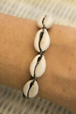 Bracelet Bahia fil coton ciré marron 4 cauris coquillage brésilien 1118