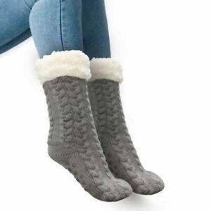 Huggle Slipper Socks Grey One Size Soft Warm Non-slip Fluffy Totes Toasties NEW