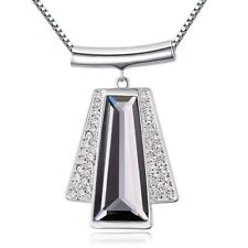 GORGEOUS LARGE 18K WHITE GOLD PLATED GREY & CLEAR CZ STATEMENT DANGLE NECKLACE