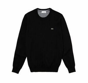 Lacoste AH3467 Crew Neck Cotton Knitted Jumper, Black N72