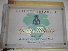 20073 Goetz & Müller Katalog 1938 Weinetiketten SpirituosenEtiketten