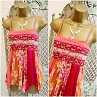 NEXT PETITE UK 6 Coral Lace Patchwork Handkerchief Hem Strappy Cami Top Summer