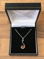 Sterling Silver Necklace Amber Pendant *21