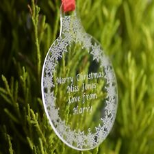 Personalised Christmas Bauble Engraved Tree Decoration Gift black round merry