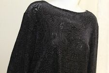 NWT Dialogue Velvet Burnout -Sz 1X Paisley Rich Blouse Shirt Top Devore Art