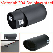 Car Exhaust Pipe Inlet Tips Muffler Pipe Tail Throat Stailess Steel Black 63mm