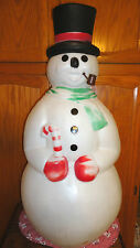 """34"""" EMPIRE SNOWMAN CANDY CANE PIPE TOP HAT CHRISTMAS BLOW MOLD LIGHT UP DECOR"""